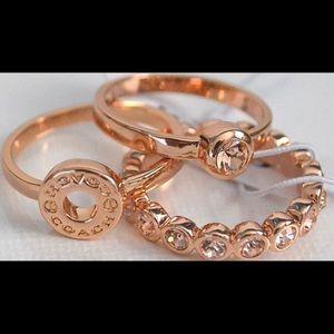 Coach Open Circle Ring Set - Rose Gold Size 7